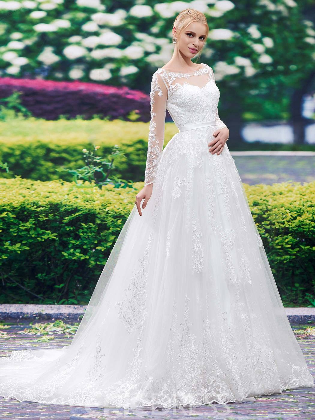 Ericdress Beautiful Bateau A Line Wedding Dress With Sleeves