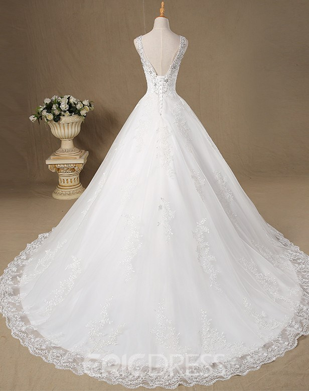 Ericdress Beautiful V Neck Appliques Beaded A Line Wedding Dress