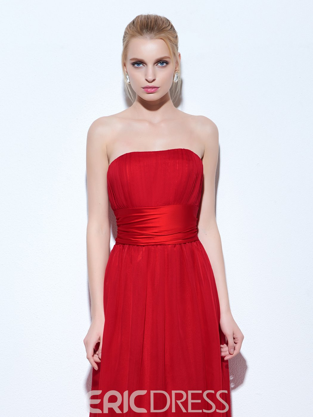 Ericdress A-Line Strapless Pleats Floor-Length Evening Dress