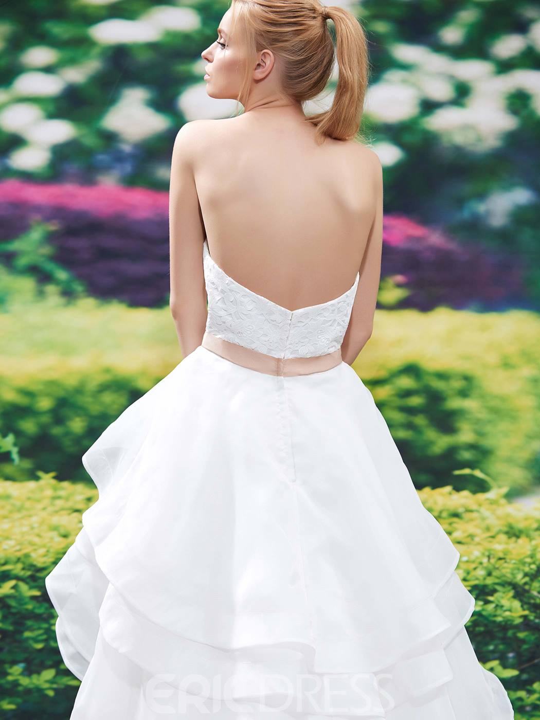 Ericdress Beautiful Sweetheart Tiered A Line Lace Wedding Dress