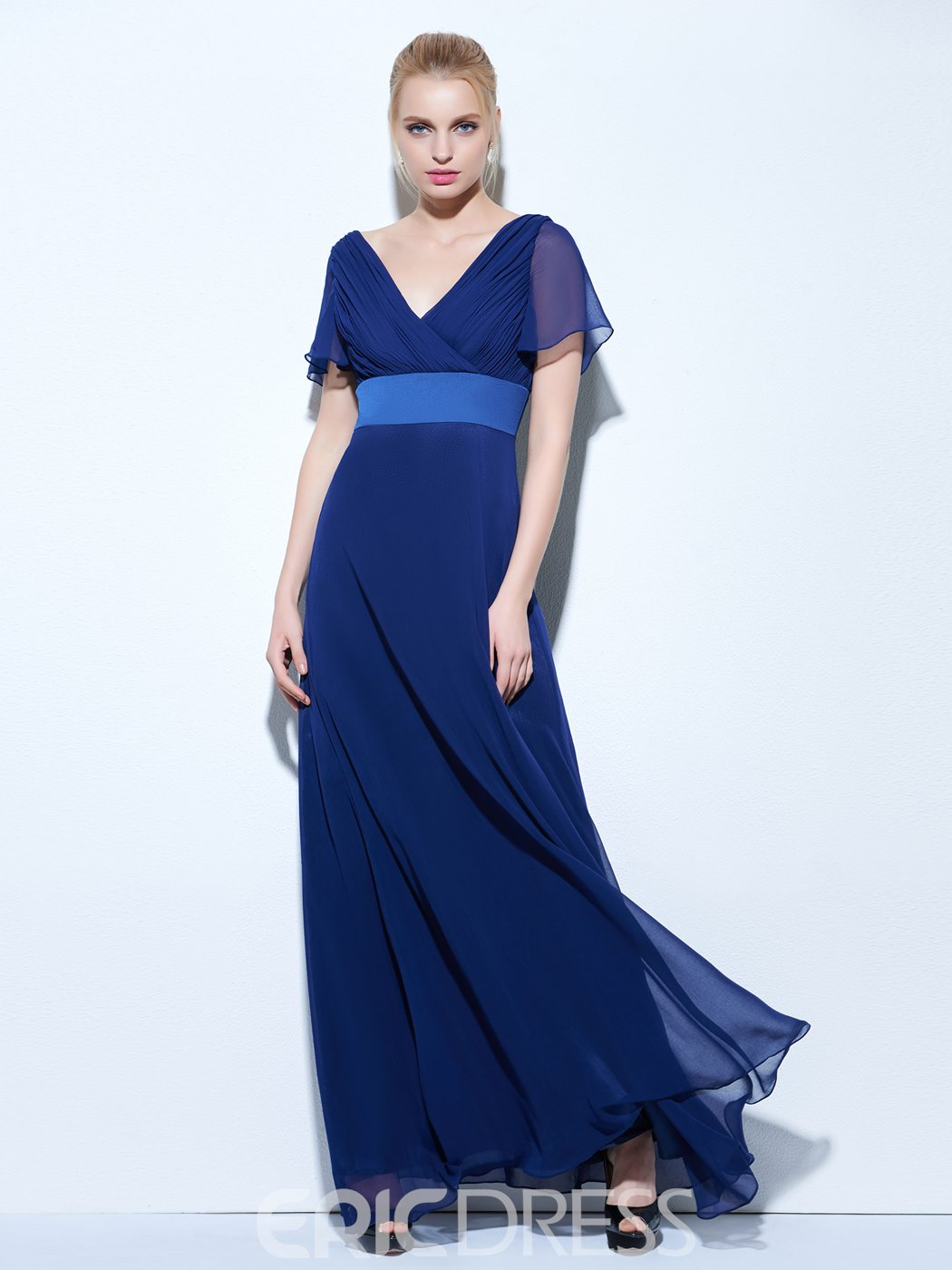 Ericdress A-Line Short Sleeves V-Neck Pleats Floor-Length Evening Dress