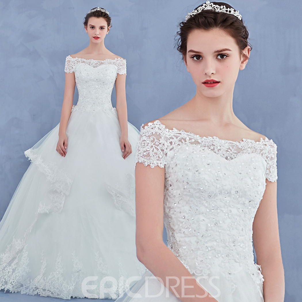 Ericdress Beautiful Off The Shoulder Lace Ball Gown Wedding Dress