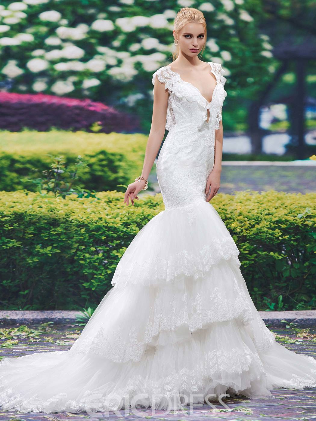 Ericdress Sexy V Neck Backless Mermaid Lace Wedding Dress