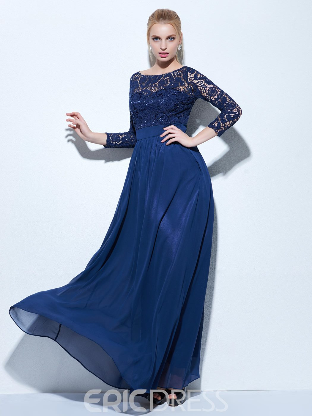 Ericdress A-Line Bateau 3/4 Sleeves Lace Evening Dress In Floor-Length