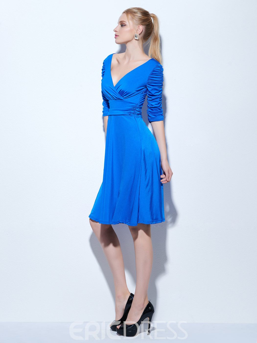 Ericdress A-Line V-Neck Half Sleeves Ruched Knee-Length Cocktail Dress