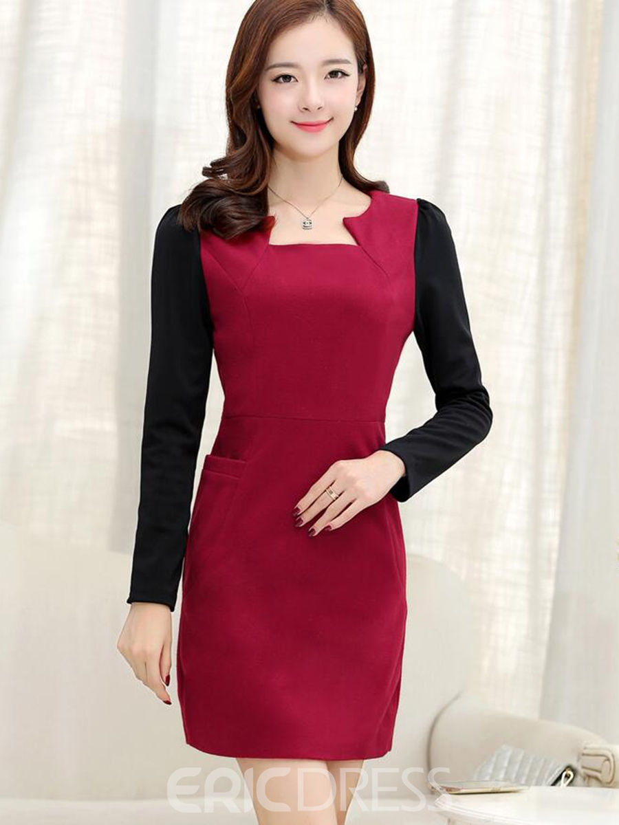a228eb75090d Ericdress Color Block Patchwork Square Neck Long Sleeve Bodycon Dress (12418476)