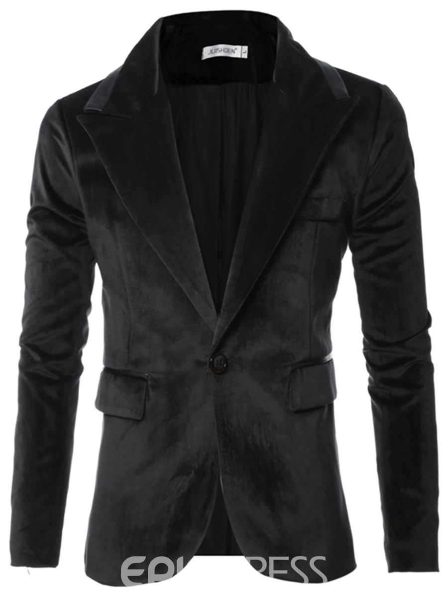 Ericdress PU Patchwork Vogue Corduroy Slim Men's Blazer