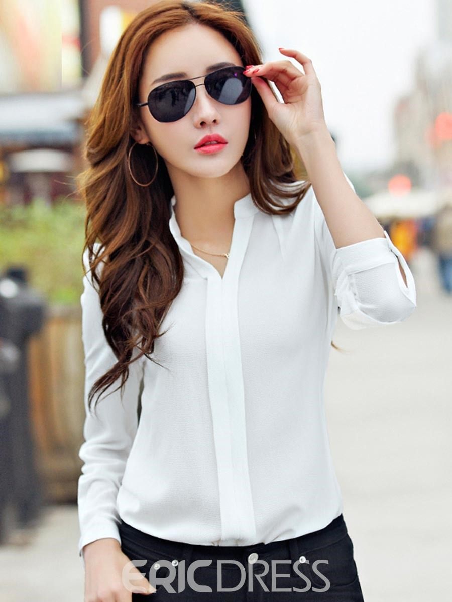 Ericdress Solid Color Chiffon Blouse