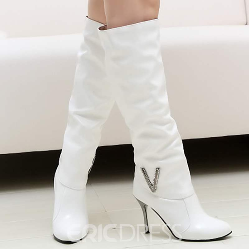 Ericdress Patent Leather Point Toe Knee High Boots