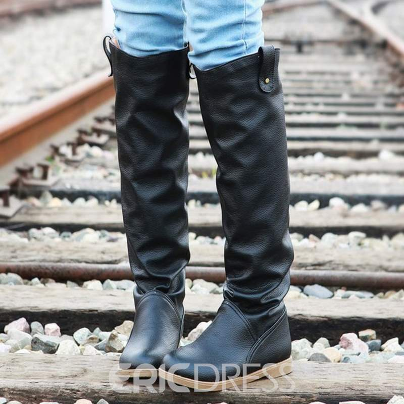 Ericdress PU Round Toe Knee High Boots