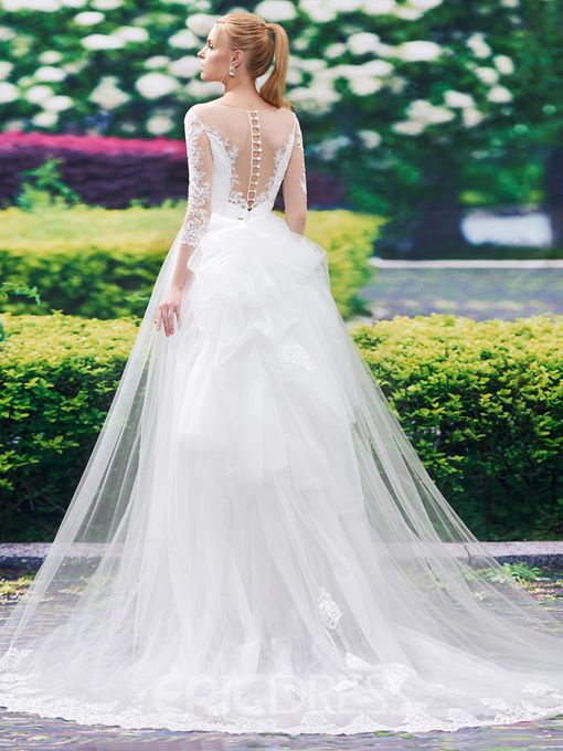 Ericdress Mermaid Lace Wedding Dress With Long Sleeves
