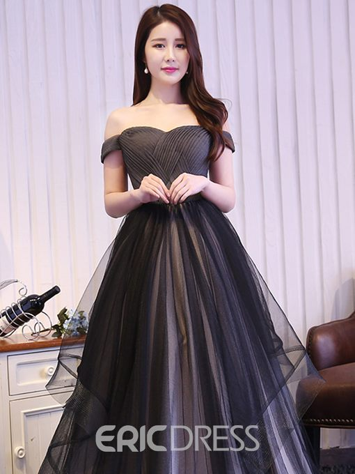 Ericdress A-Line Off-the-Shoulder Pleats Tulle Evening Dress