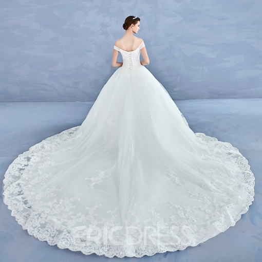 Ericdress Off The Shoulder Appliques Beaded Ball Gown Wedding Dress