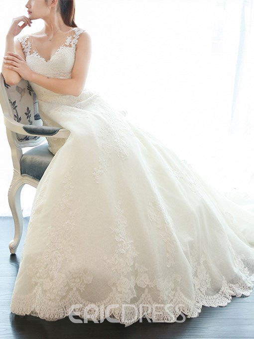 Ericdress V Neck Appliques Button Wedding Dress