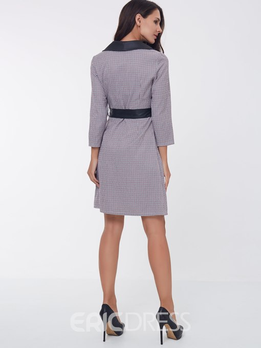 Ericdress Notched Lapel Lace-Up Long Sleeves A Line Dress