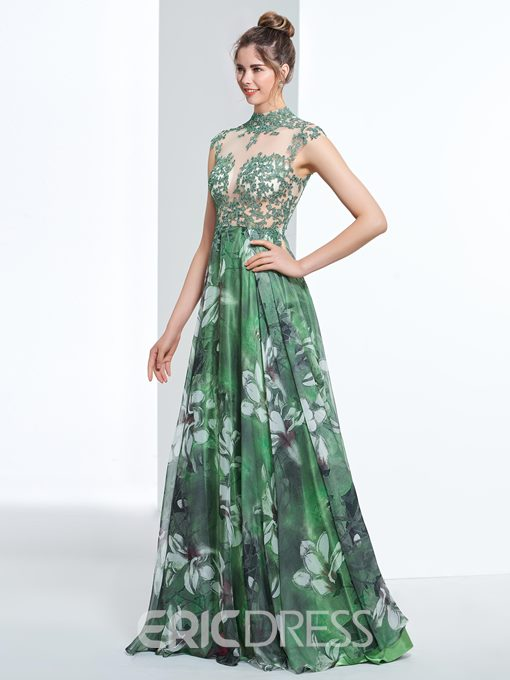 Ericdress A-Line High Neck Cap Sleeves Appliques Button Printed Prom Dress