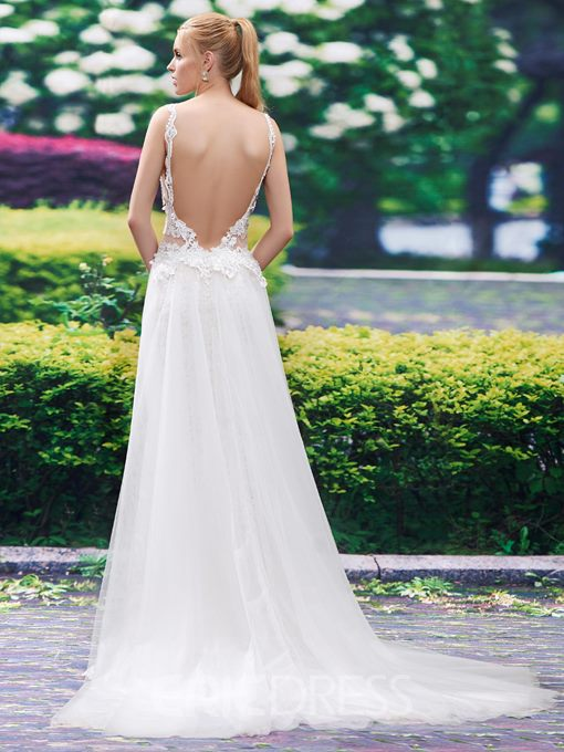 Ericdress Sexy Backless Appliques Mermaid Wedding Dress
