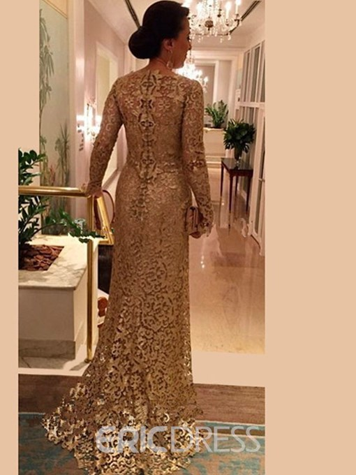 Ericdress Elegant Long Sleeves Mermaid Lace Mother Of The Bride Dress 2019
