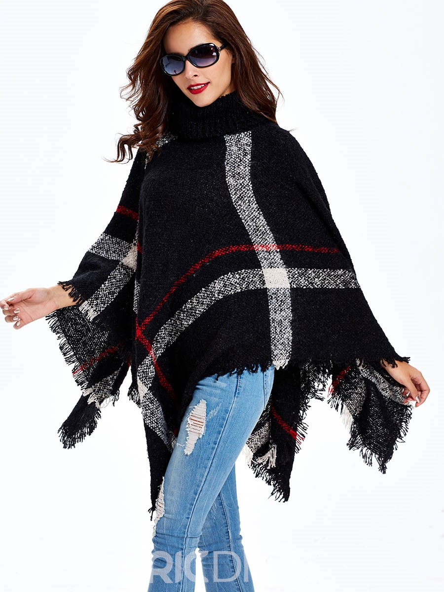 Ericdress Sisjuly Turtle Neck Tassel Caped Knitwear