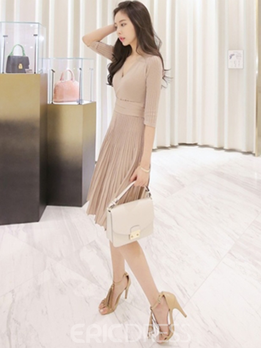 Ericdress 3/4 Length Sleeves Floral Print Pleated A Line Dress
