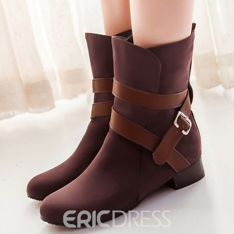 Ericdress Patchwork Buckles Ankle Boots