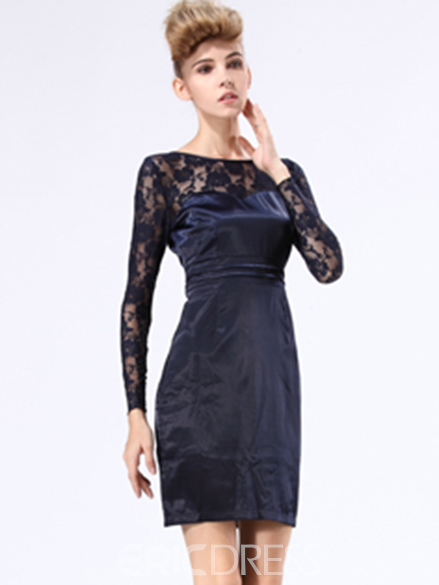 Ericdress Lace Hollow Zipper Patchwork Lace Dress