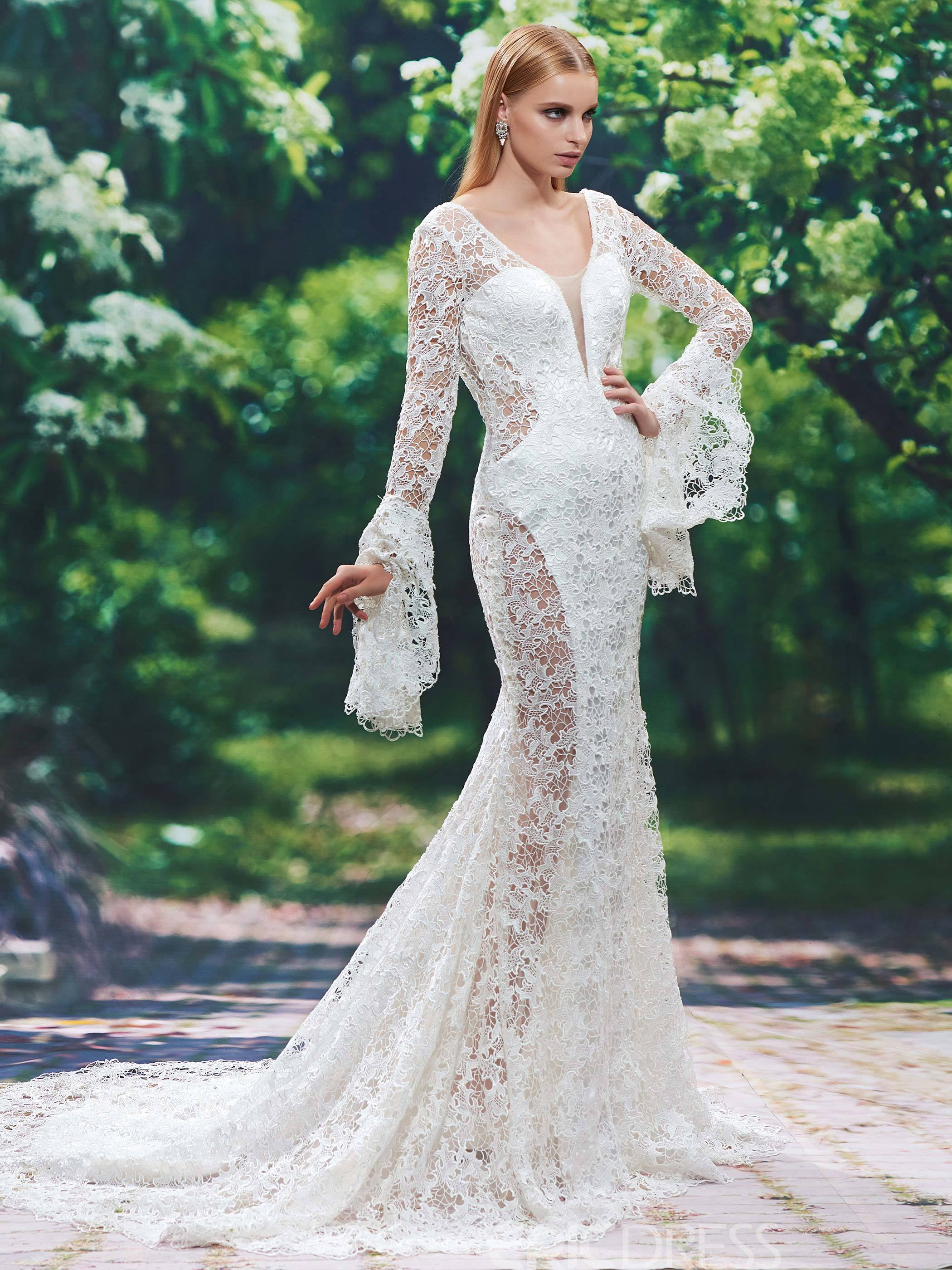 Ericdress Sexy V Neck Hollow Backless Lace Mermaid Wedding Dress With Sleeves