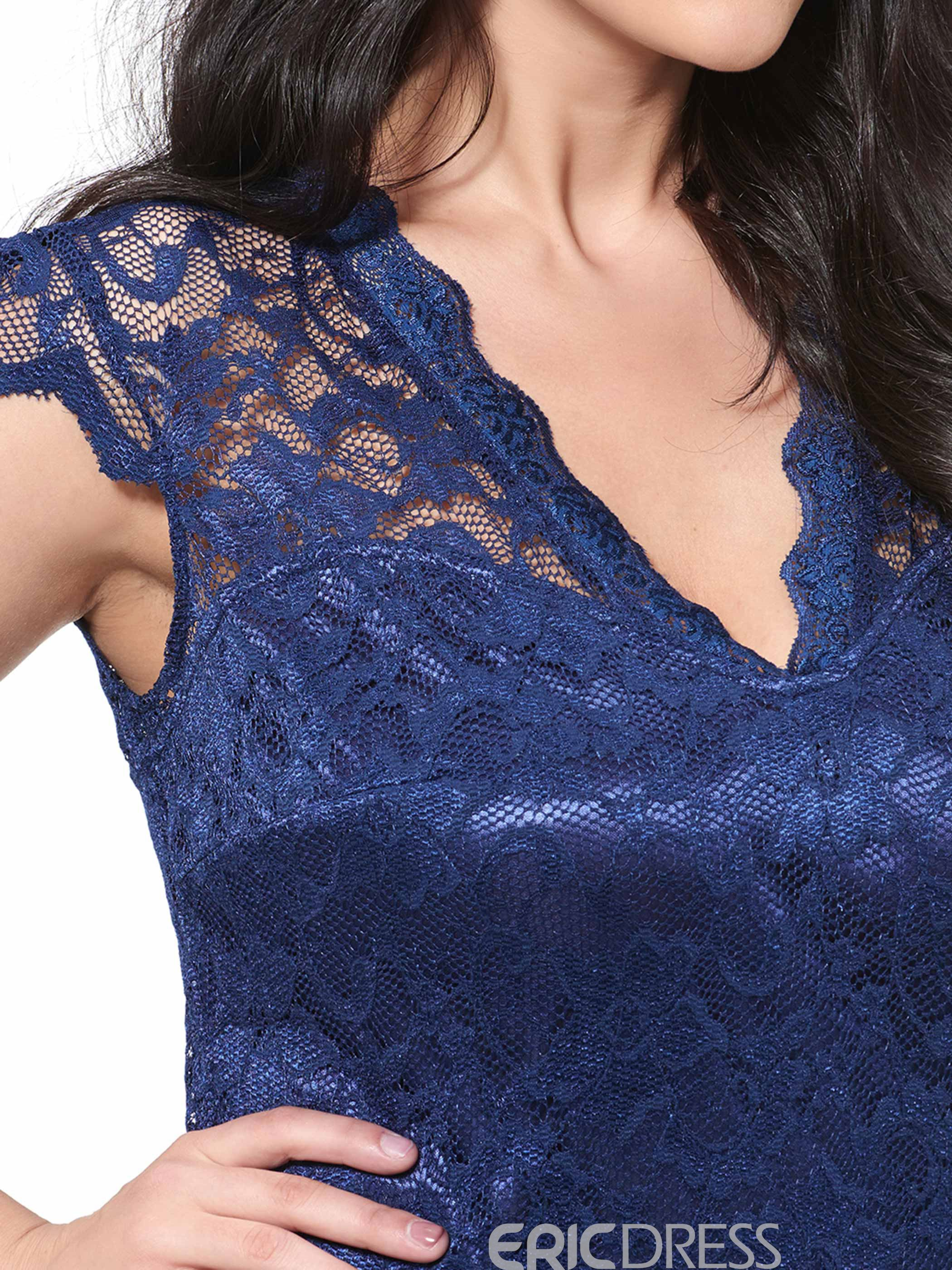 Ericdress Hollow Plus Size Lace Dress