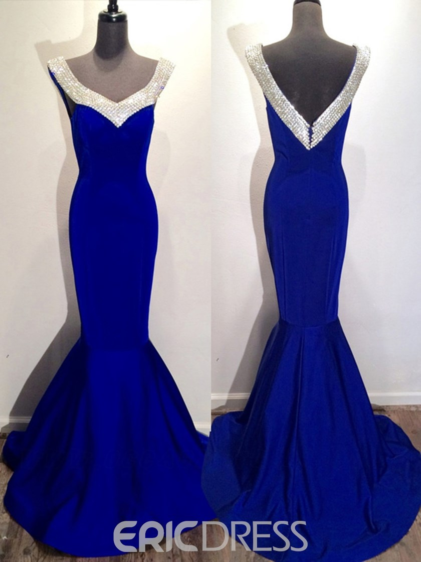 Ericdress Mermaid V-Neck Beaded Court Train Evening Dress