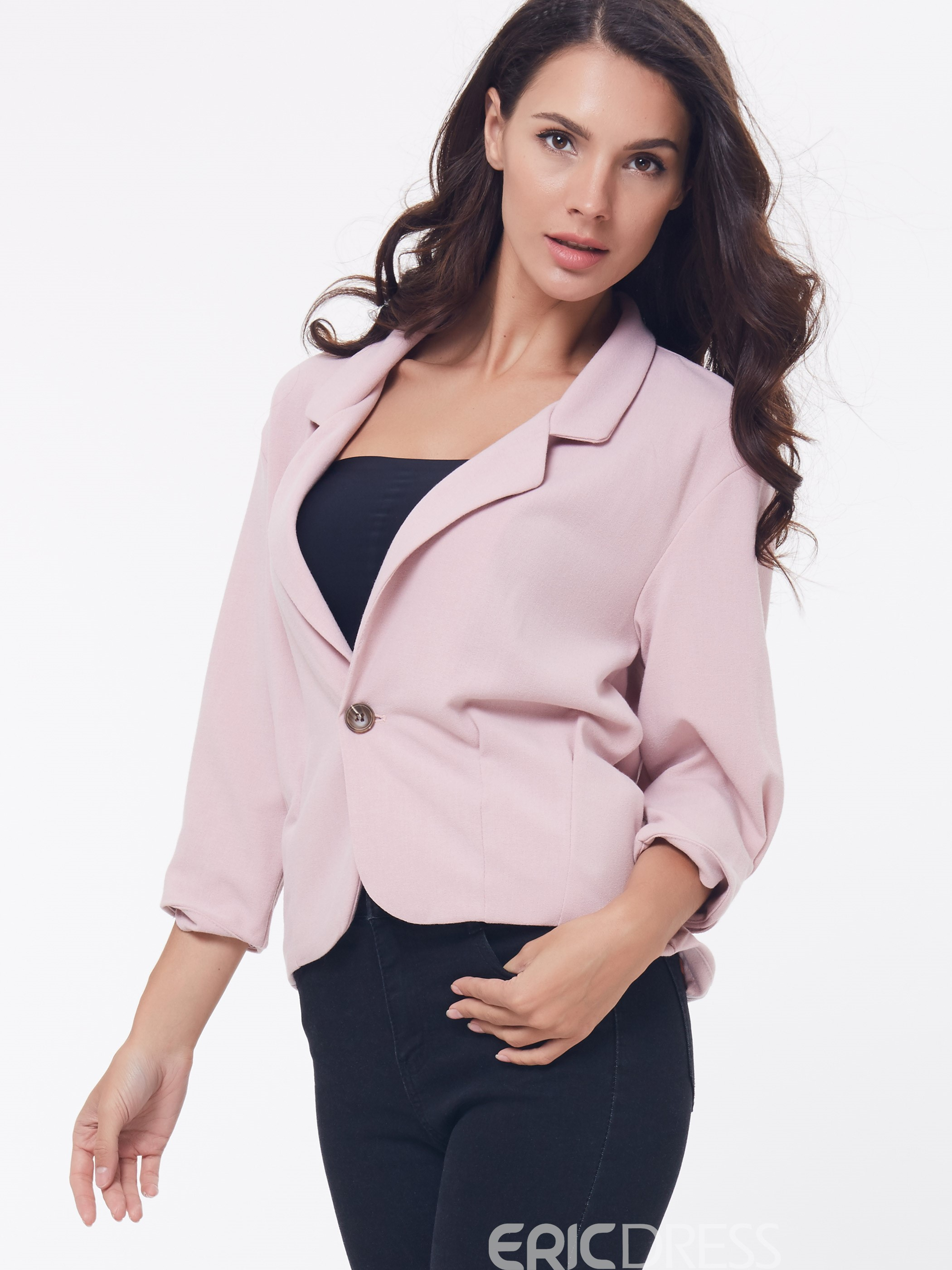 Ericdress One Button Three-Quarter Blazer