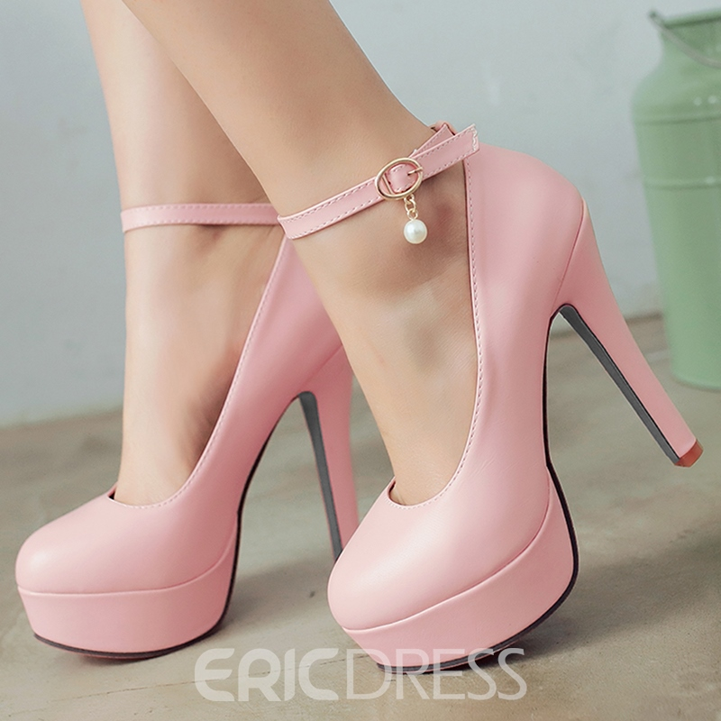 Ericdress PU Round Toe Platform Ankle Strap Prom Shoes