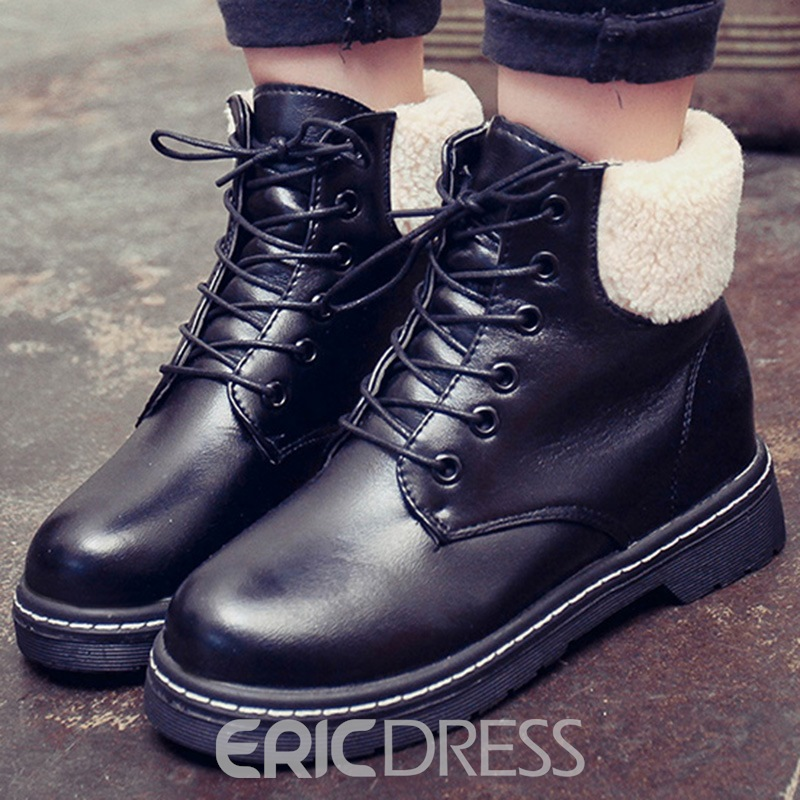 Ericdress Lace-Up Short Floss Ankle Boots