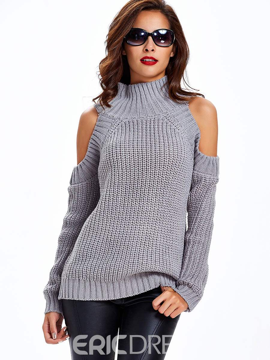 Sisjuly Cold Shoulder Turtle Neck Knitwear