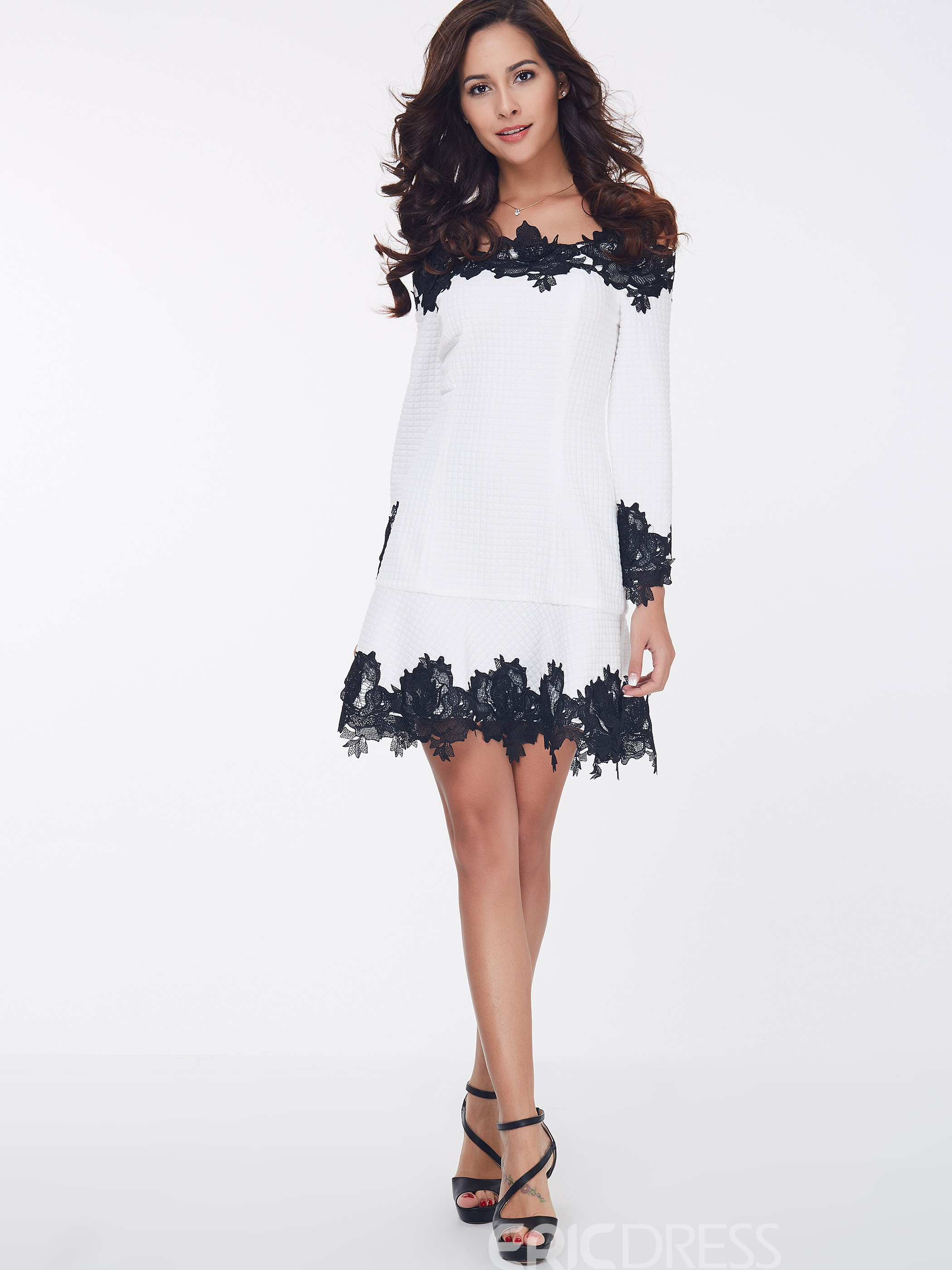 Ericdress Patchwork Slash Neck A-Line Lace Dress