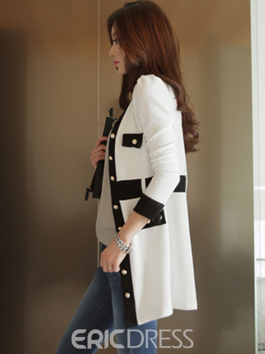 Ericdress Color Block V-Neck Slim Coat