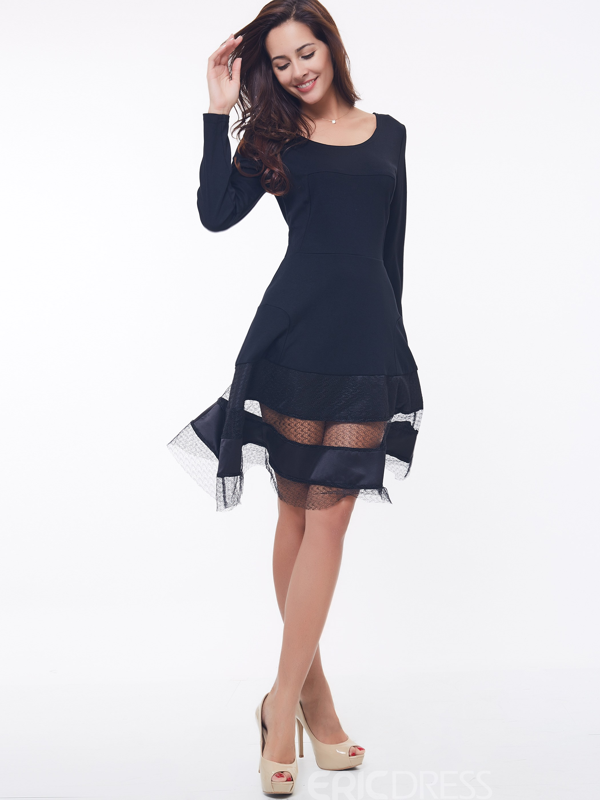 Ericdress Color Block Patchwork Long Sleeve Casual Dress