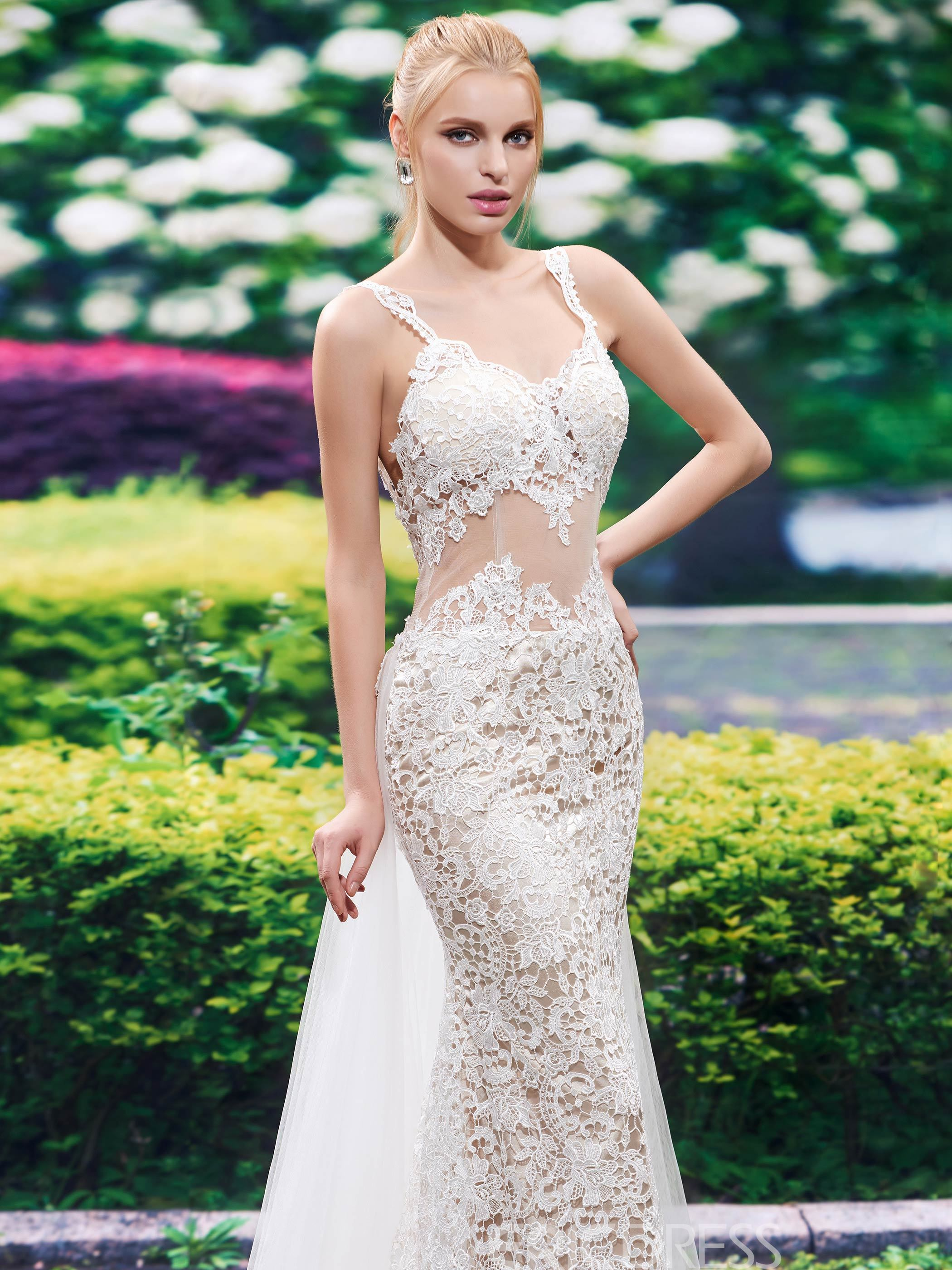 Ericdress Sexy Straps Backless Lace Mermaid Wedding Dress