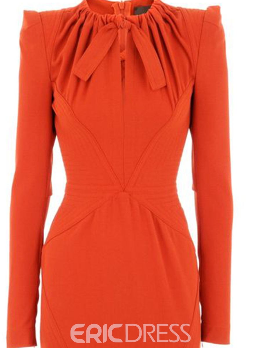 Ericdress Solid Color Pleated Patchwork Lace-Up Sheath Dress