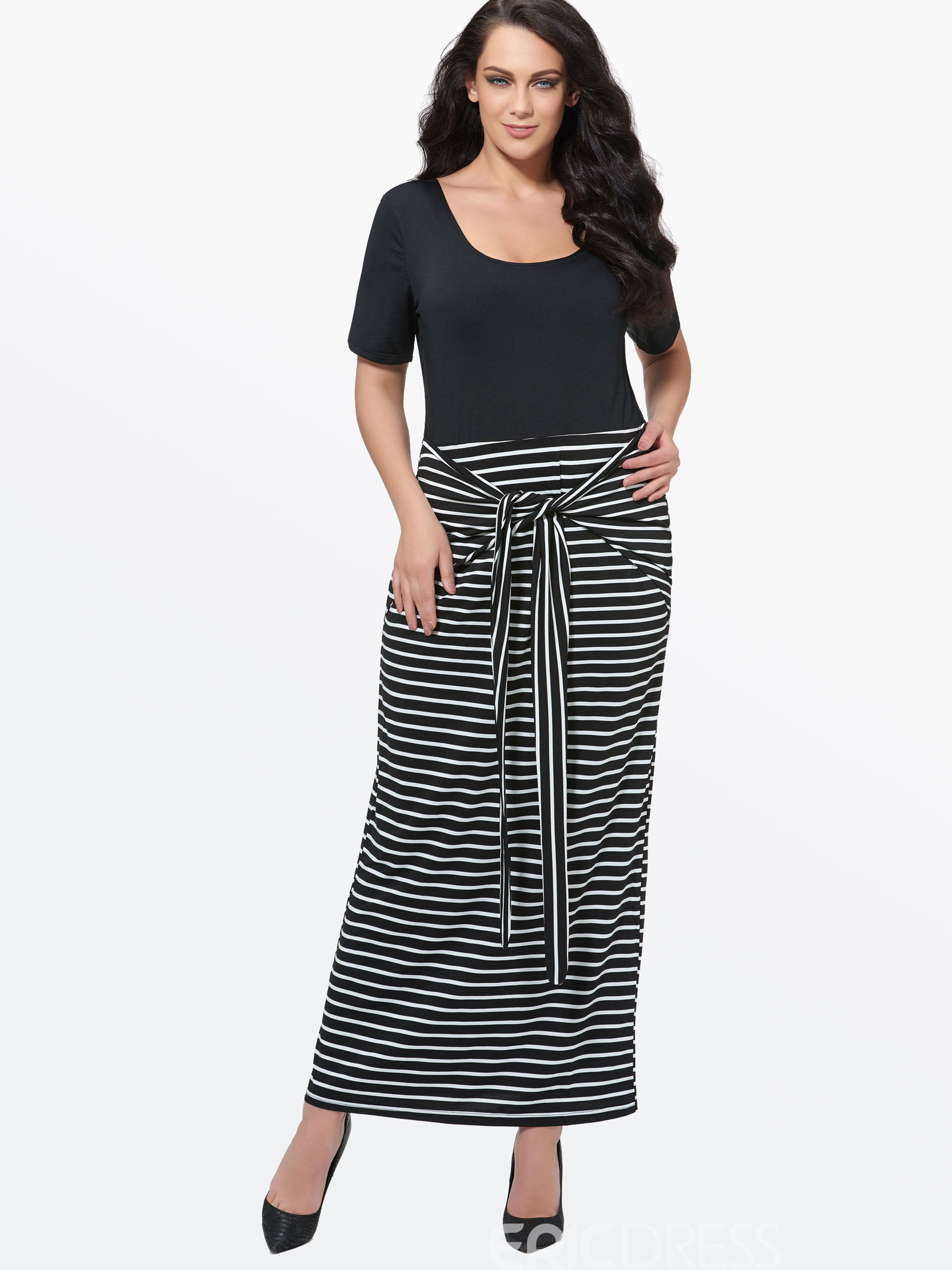 12c43dbf82 Ericdress Plus Size Short Sleeves Maxi Dress 11390881 - Ericdress.com