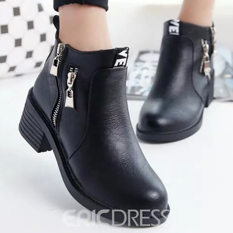 Ericdress PU Side Zip Square Heel Ankle Boots