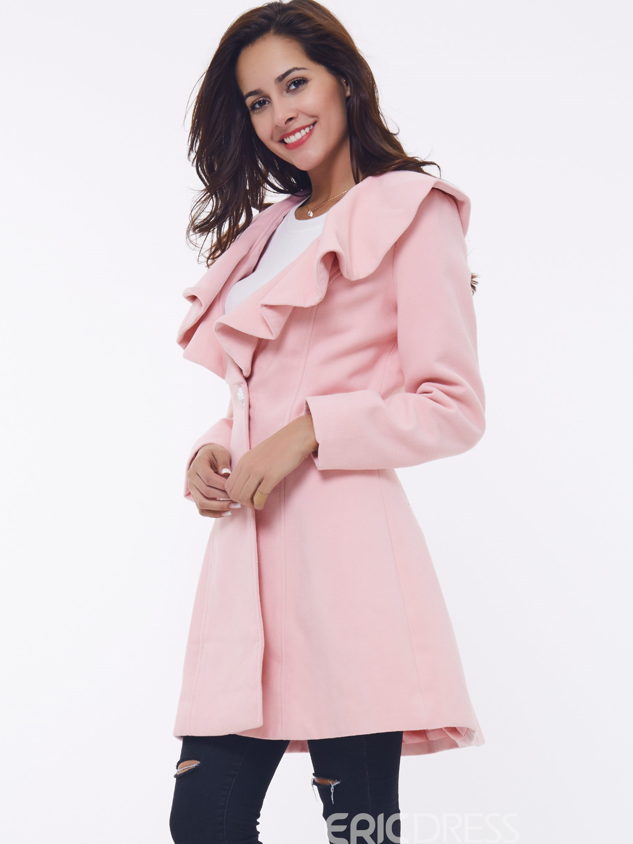 Ericdress Plain Frill Slim Peter Pan Collar Overcoat