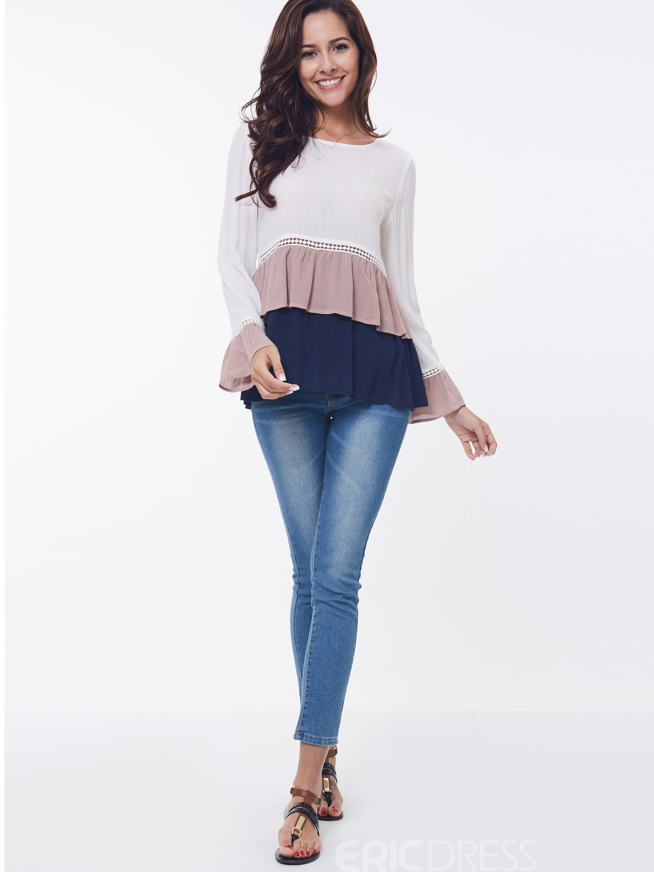 Ericdress Color Block Peplum Long Sleeve T-Shirt