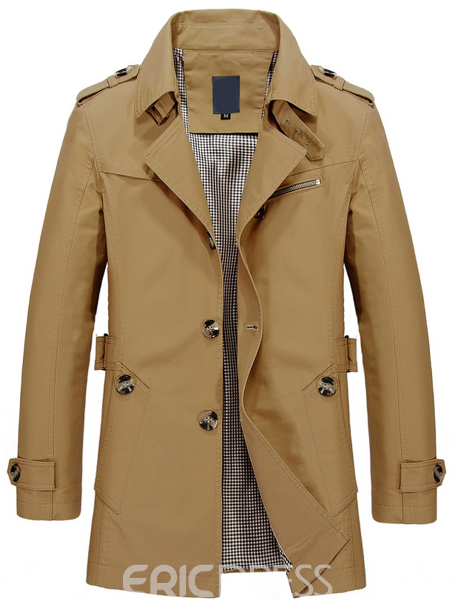 Ericdress Plain Lapel Single-breasted Vogue Mens Trench Coat