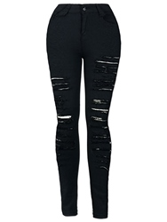 Ericdress Ripped Worn-Out Black Jeans 12428623