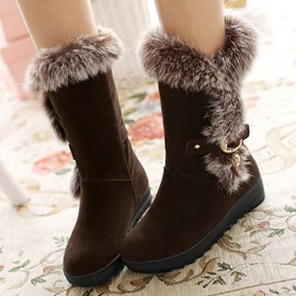 Ericdress Delicate Furry Round Toe Snow Boots