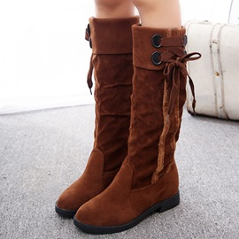 Ericdress PU ronde Toe lacets bottes Knee High