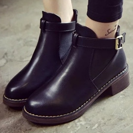 Ericdress PU Round Toe Buckles Martin Boots