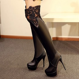 Ericdress Sexy Lace Patchwork Platform Knee High Boots
