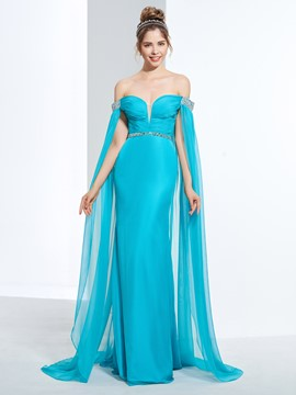 Ericdress Off-the-Shoulder Friesen Falten Pailletten Watteau Zug Prom Etuikleid