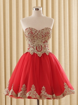 Ericdress A-Line Cap Sleeves Appliques Short Homecoming Dress